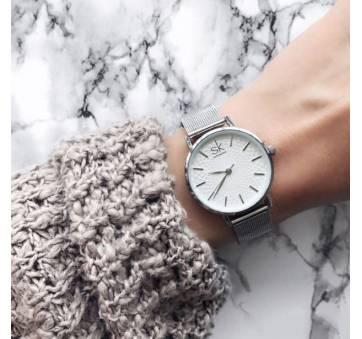 Женские Часы наручные SK, серебристые  2521