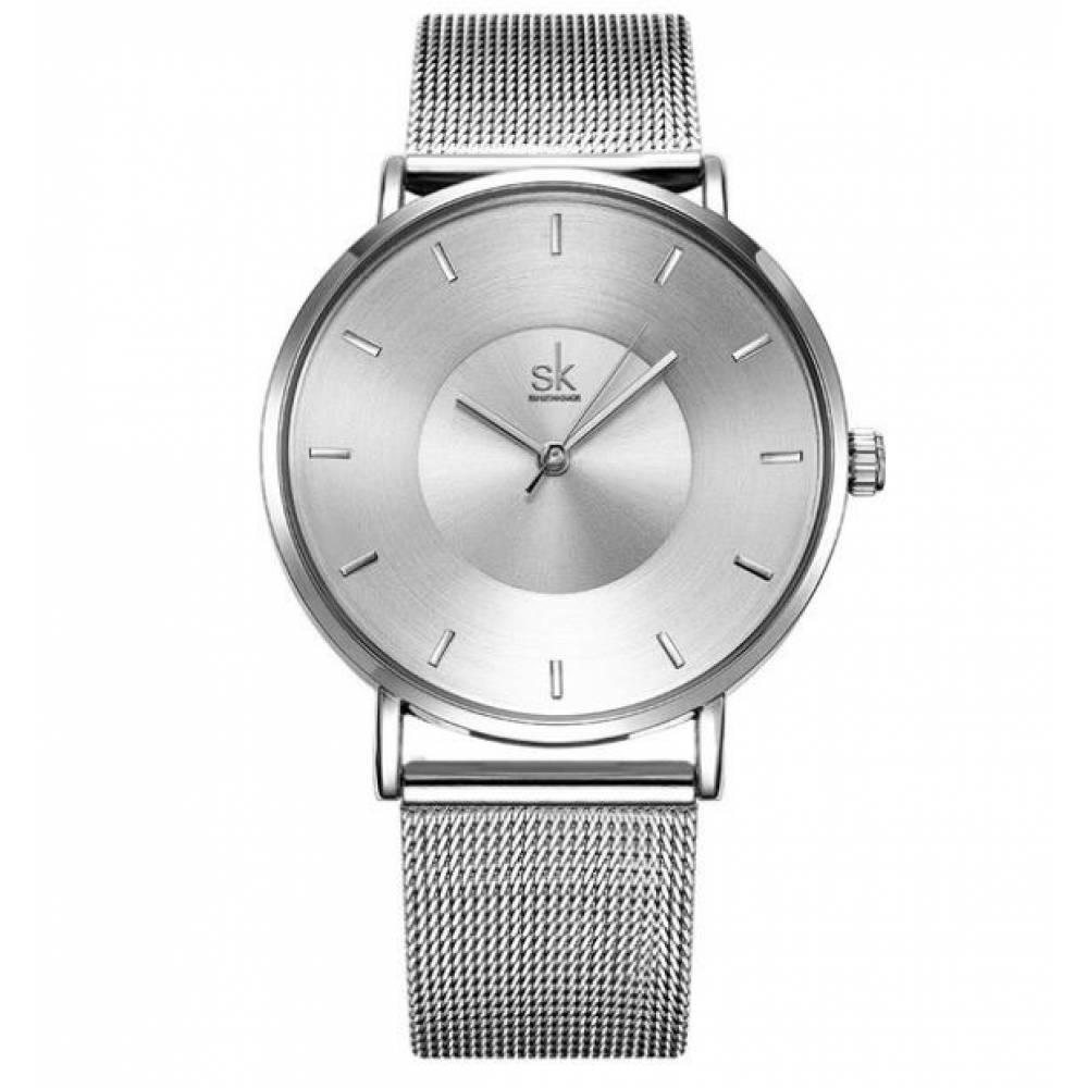 Женские Часы наручные SK, серебристые  2536