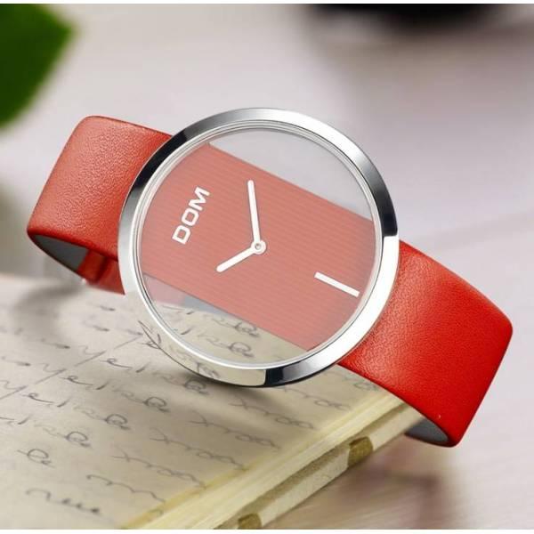 Часы люкс DOM красные 2631