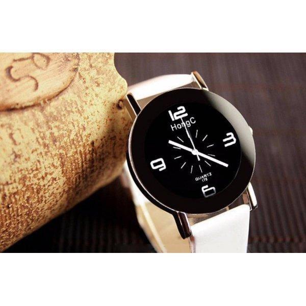 Часы HongC белые черным 2711