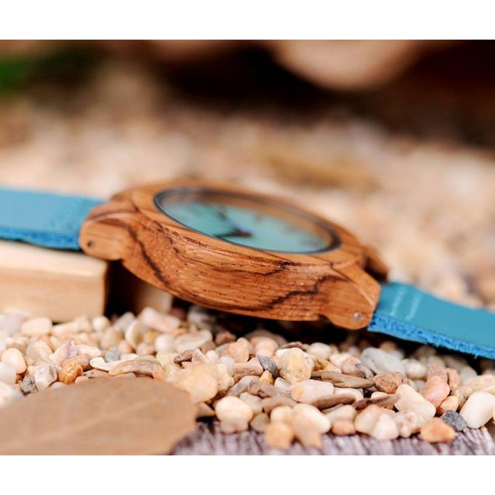 Женские Часы наручные BB дерево бирюзовые 2714