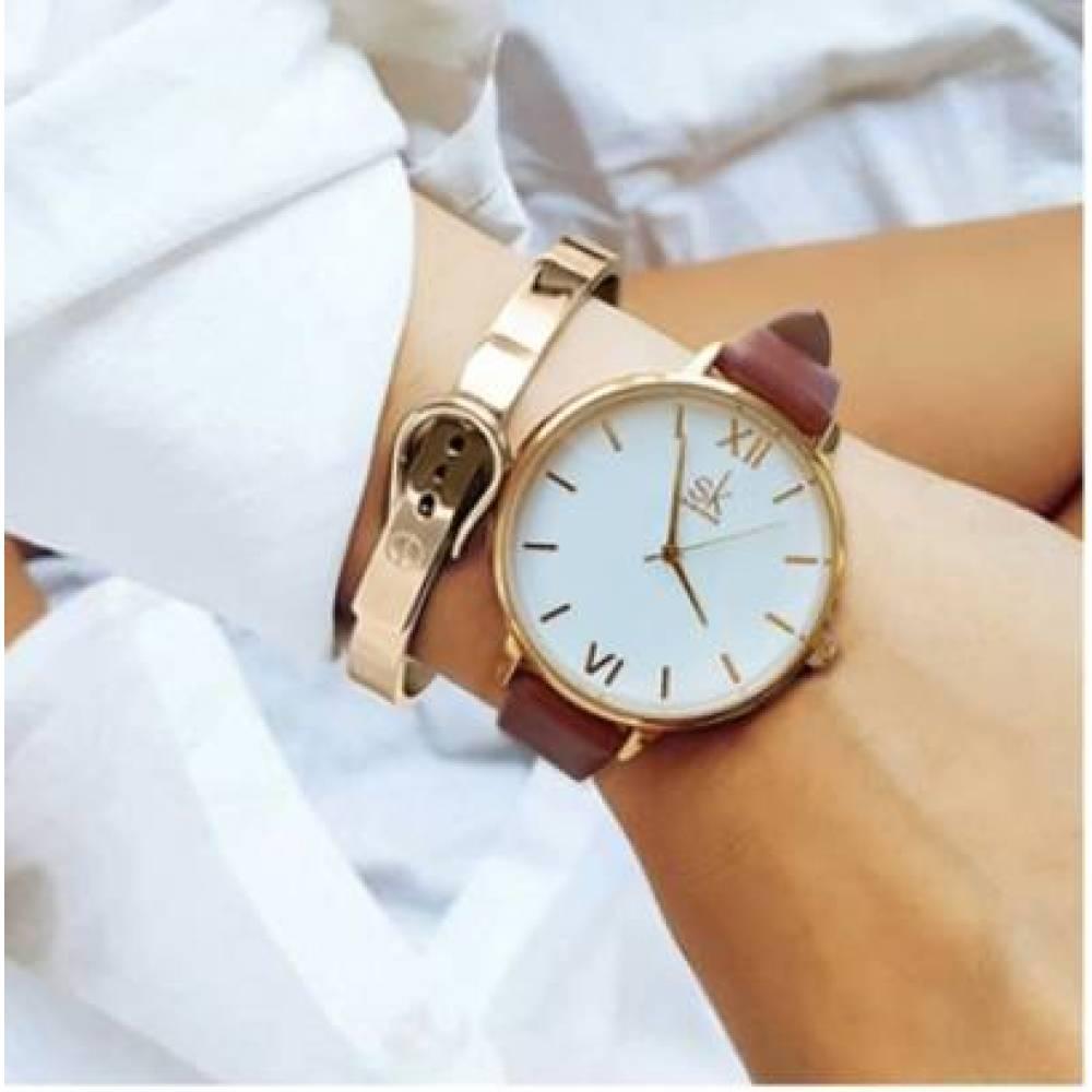 Женские Часы наручные SK коричневые 2765