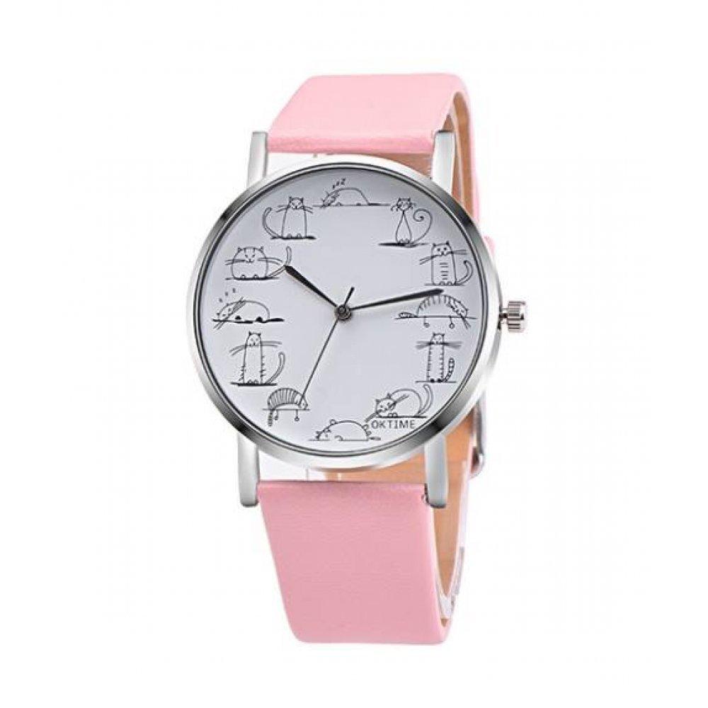 Часы наручные Cartoon Cat розовые 2862