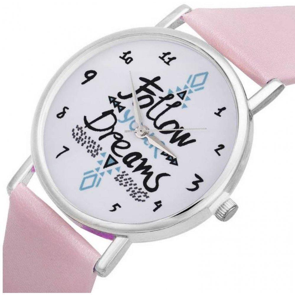 """Женские Часы наручные """"Следуй за мечтой"""" розовые 2864"""