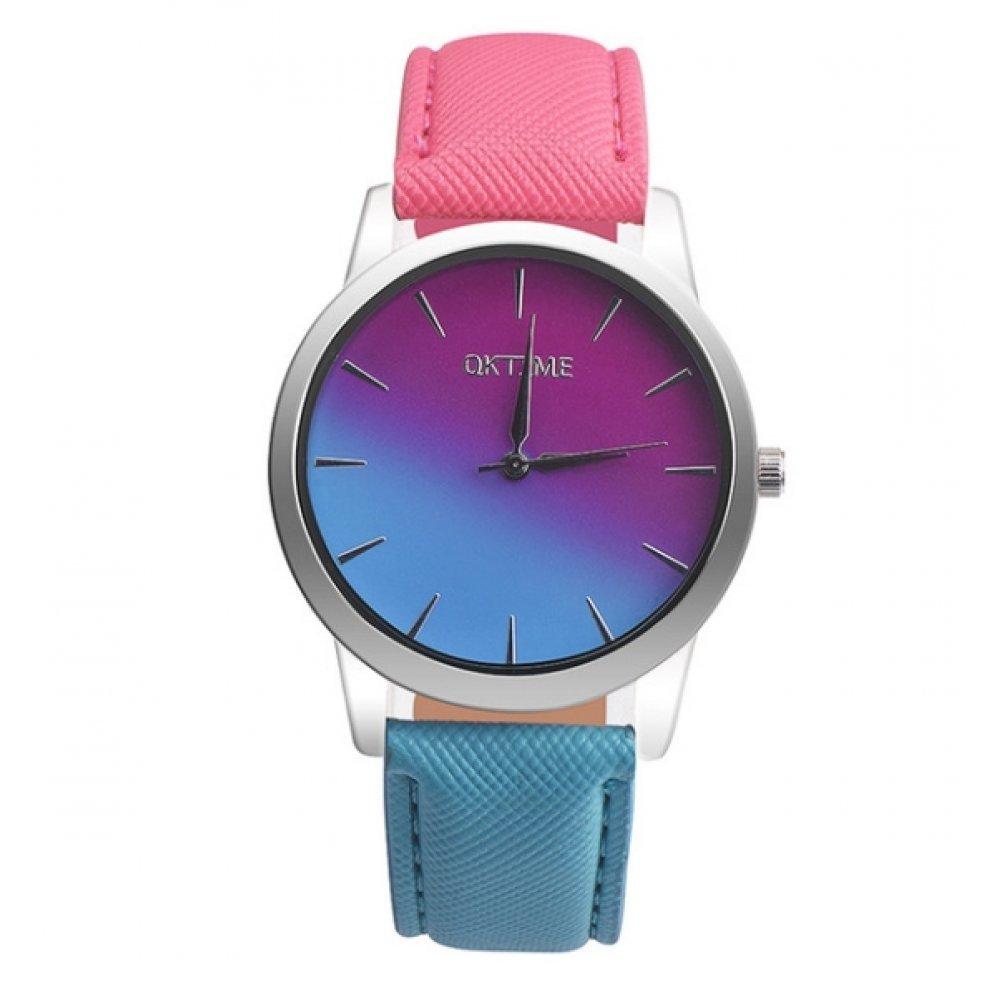 Женские Часы наручные Tangnade розовые с голубым 2876