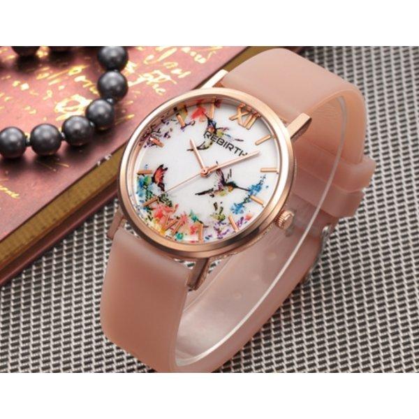 Часы REBIRTH цветы, белые 2903
