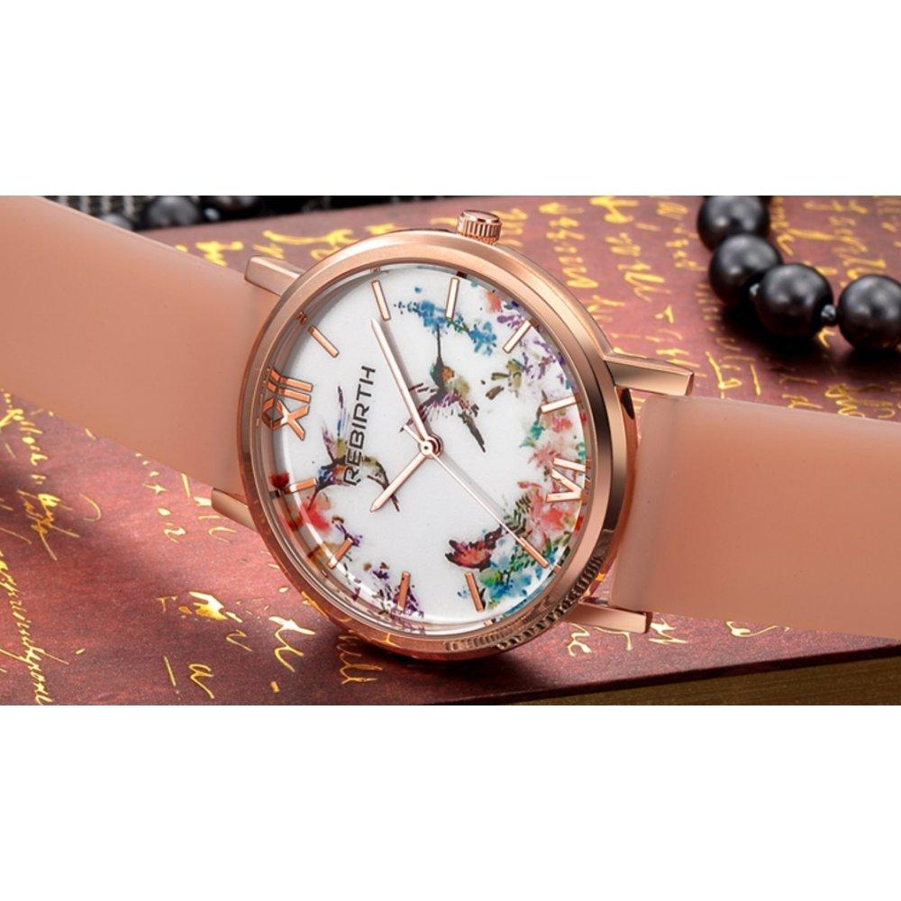 Женские Часы наручные REBIRTH цветы, бежевые 2901