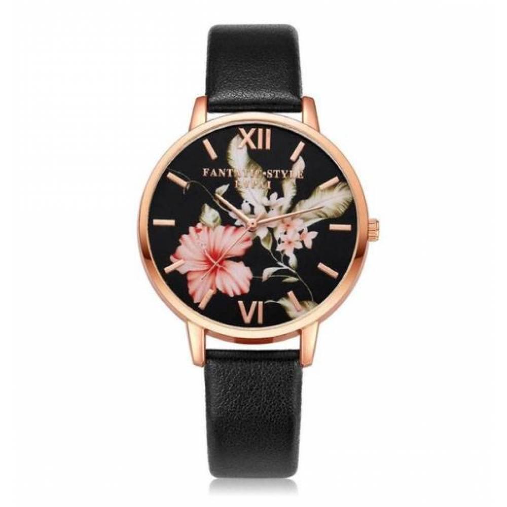 Женские Часы наручные LVPAI цветы, черные 2921