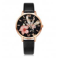 Женские часы LVPAI цветы, черные