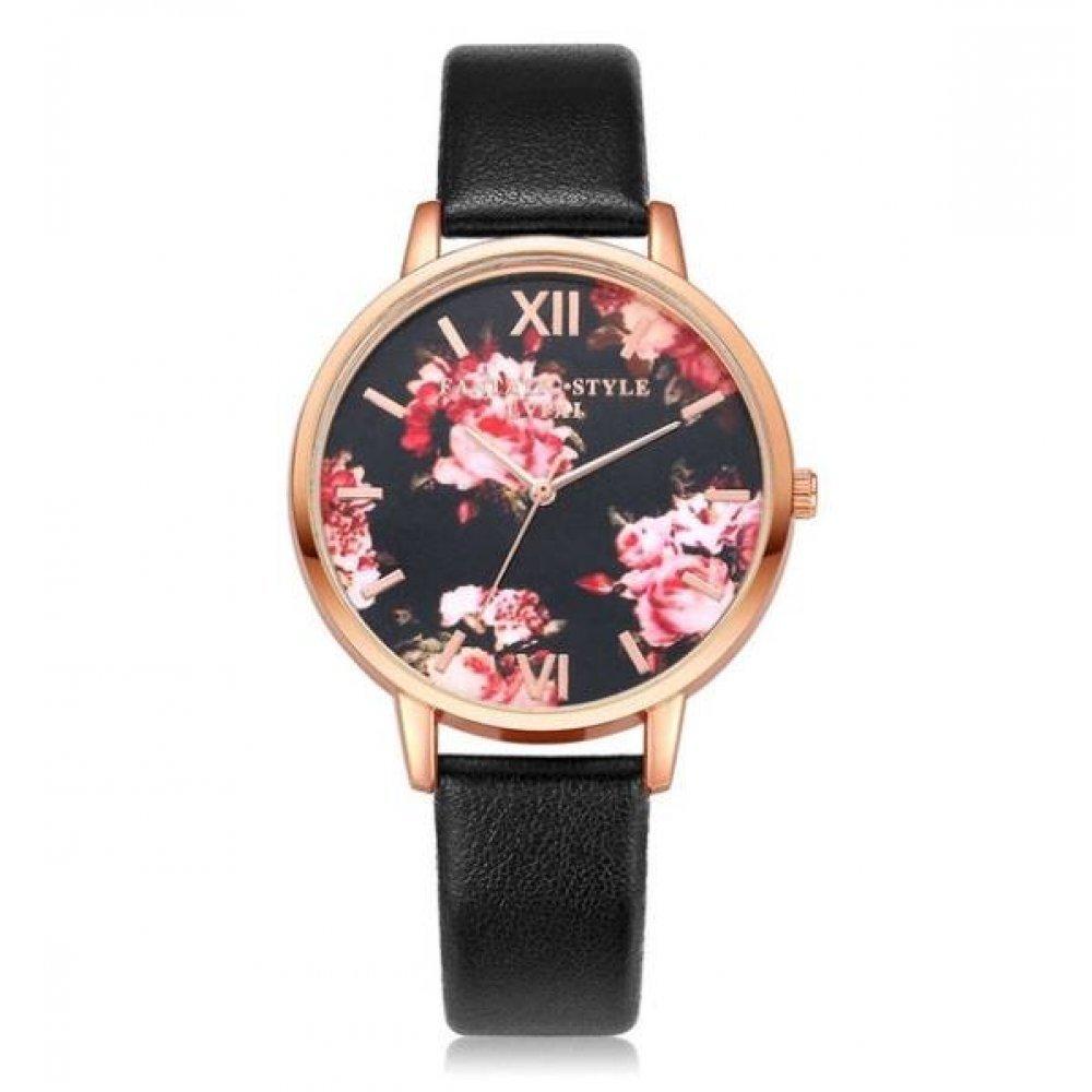 Женские Часы наручные LVPAI цветы, черные 2922