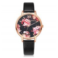Часы LVPAI цветы, черные