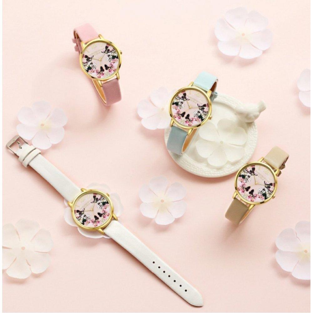 Женские Часы наручные LVPAI бабочки, малиновые 2952
