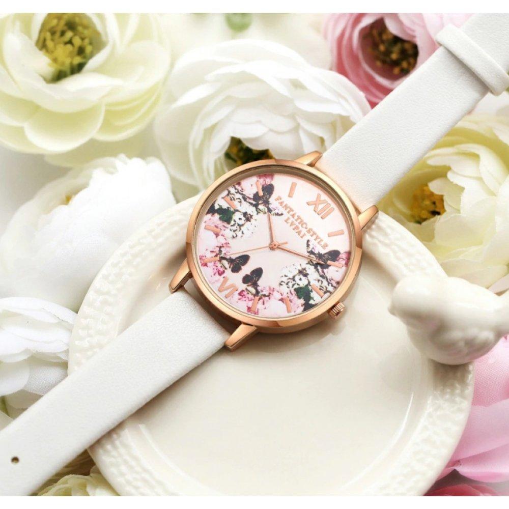 Женские Часы наручные  LVPAI бабочки, белые 2950