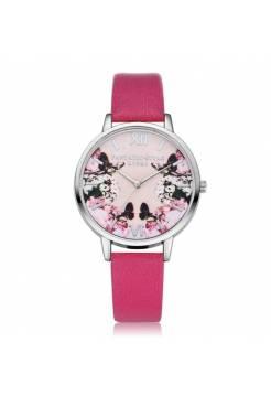 Женские часы LVPAI бабочки, малиновые