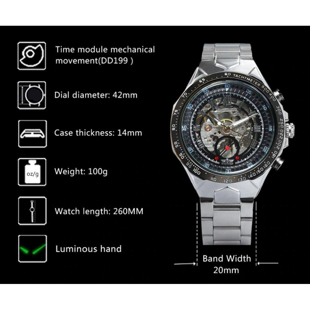 Мужские Часы наручные T-WINNER Скелетоны, черные 3009