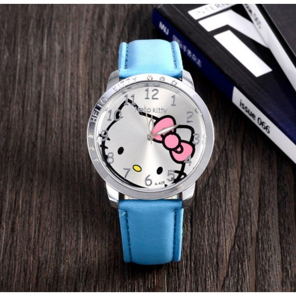 Детские Часы наручные Hello Kitty, голубые 3013