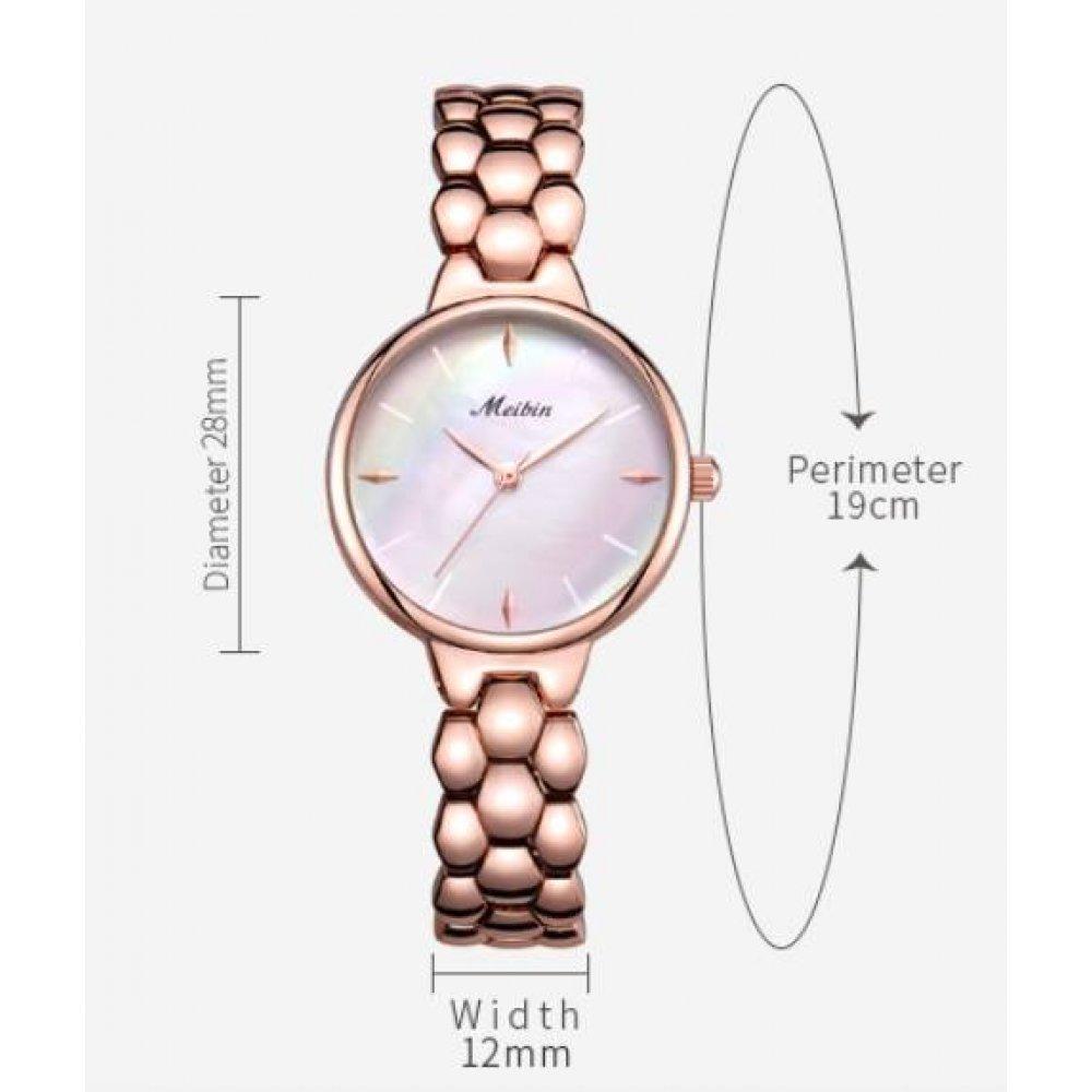 Женские Часы наручные Meibin, золотистые 3018