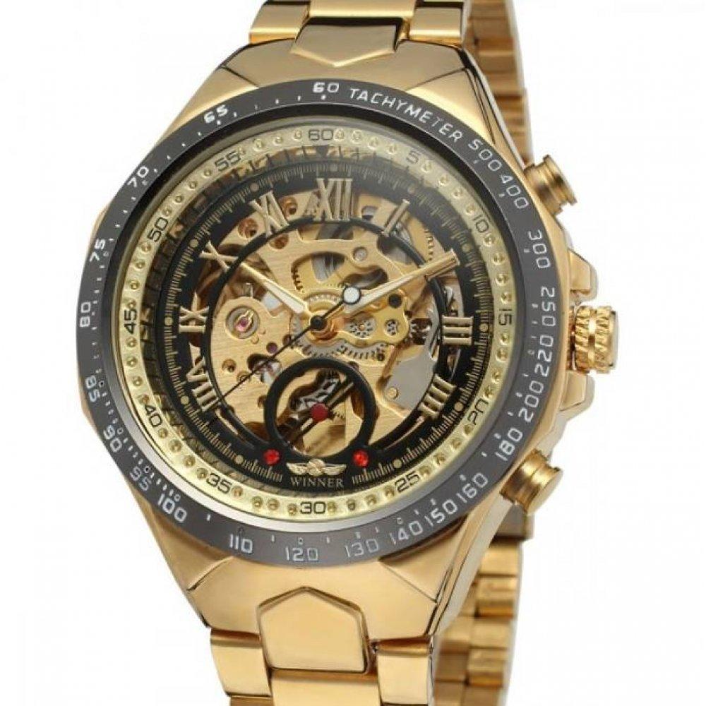 Мужские Часы наручные T-WINNER Скелетоны, золотистые  3050