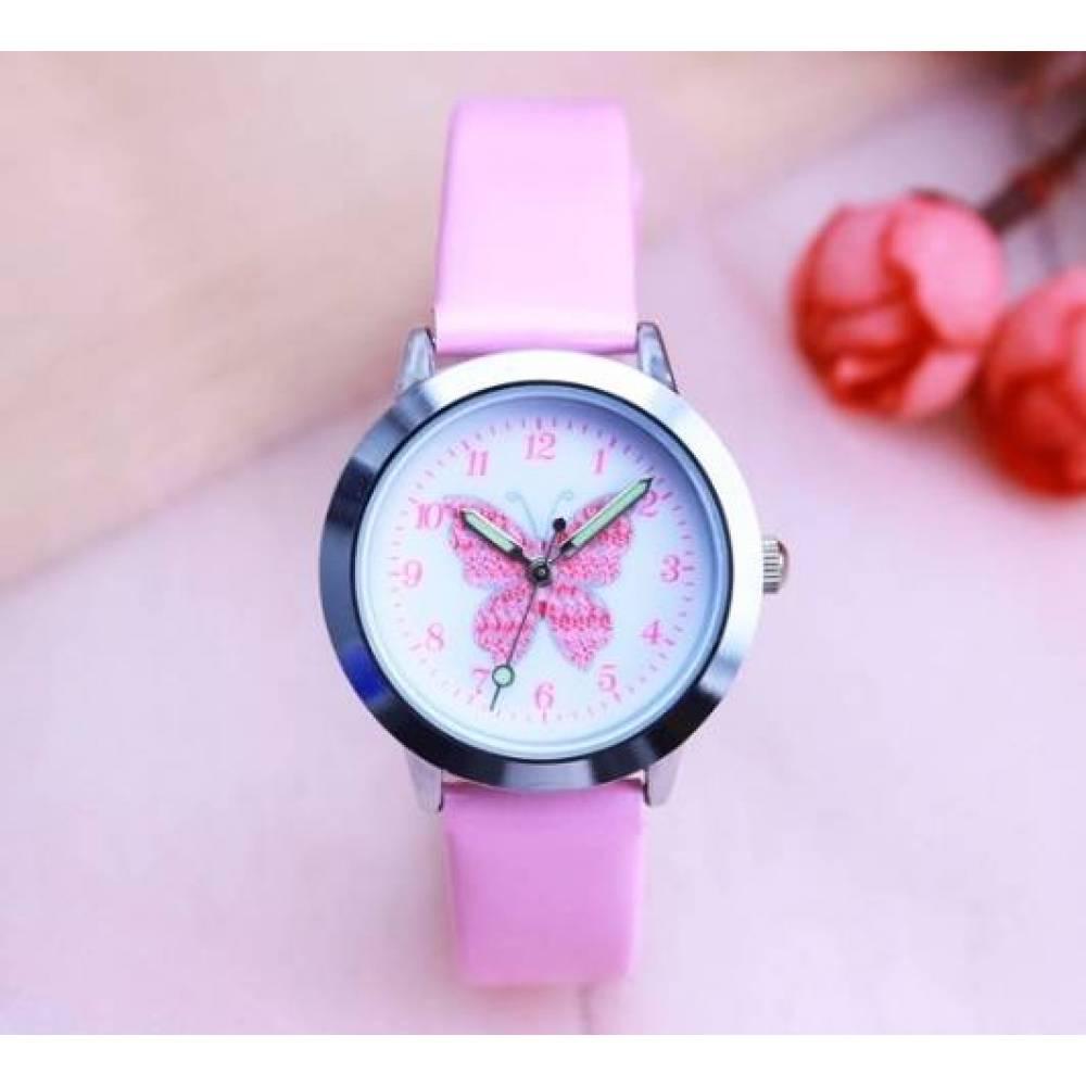 Детские Часы наручные с бабочкой, розовые  3057