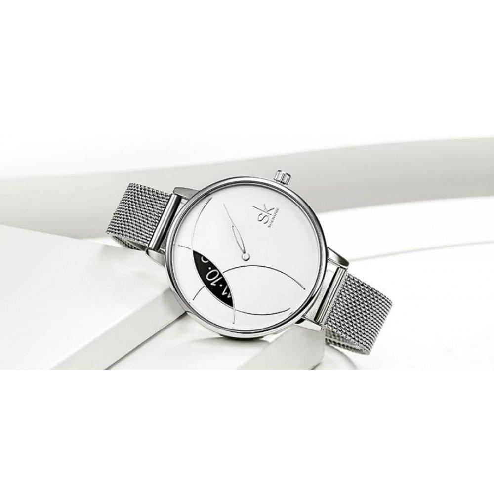 Женские Часы наручные SK, серебристые  3107