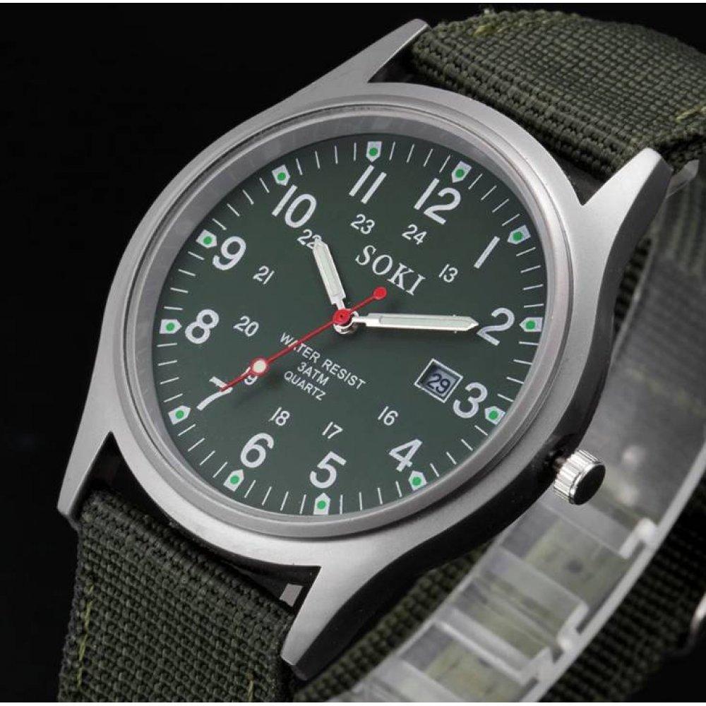Мужские Часы наручные SOKI Military, зеленые  3263
