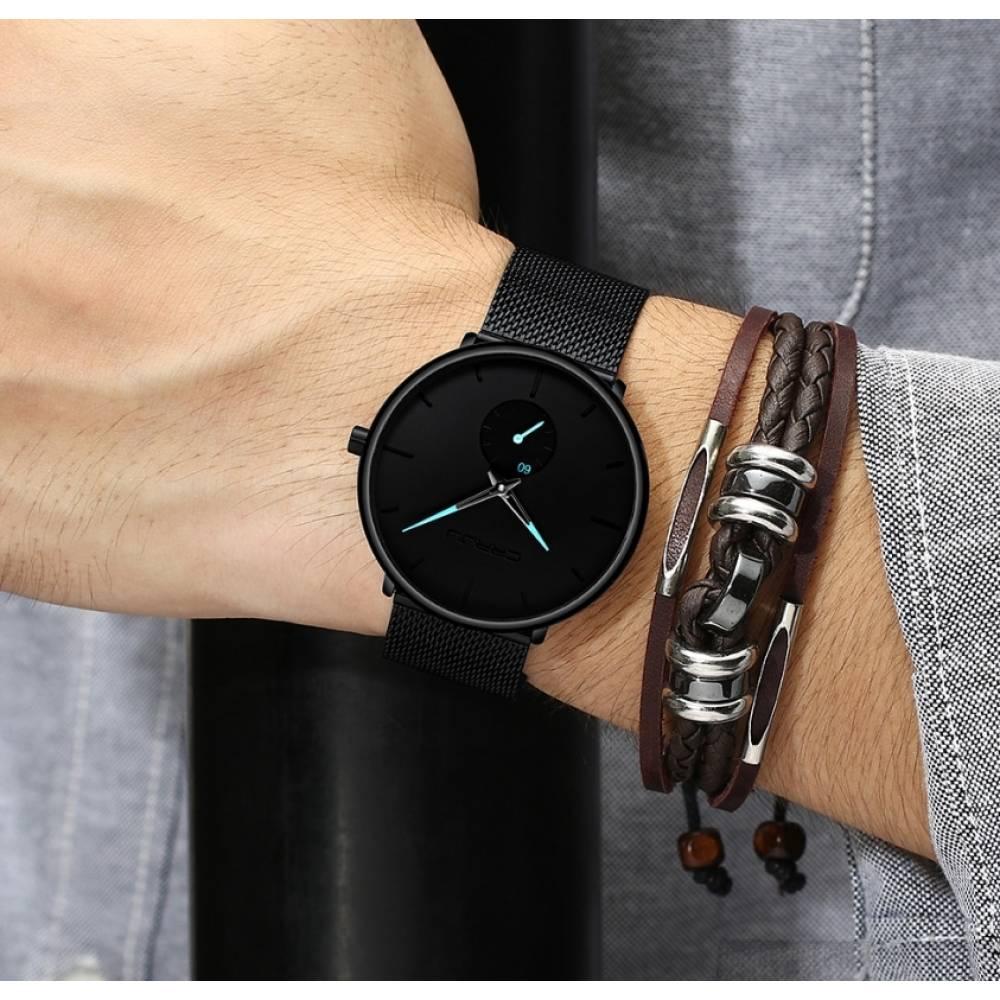 Мужские Часы наручные CRRJU, черные  3564