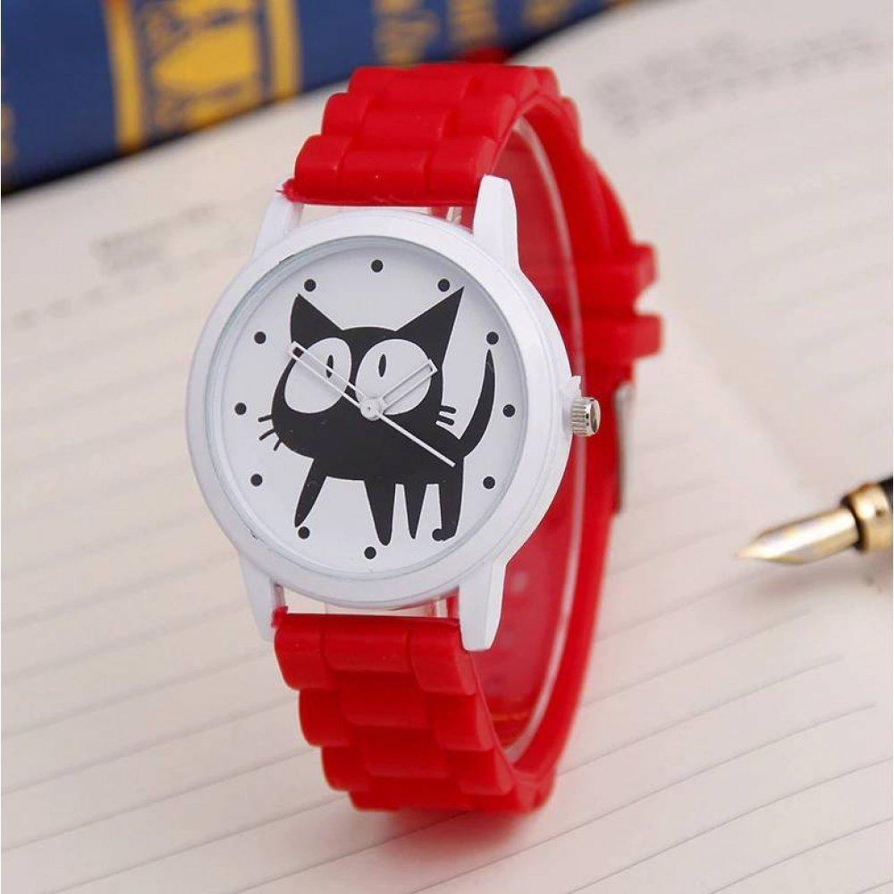 Женские Часы наручные JEANE CARTER с кошкой, красные 3510