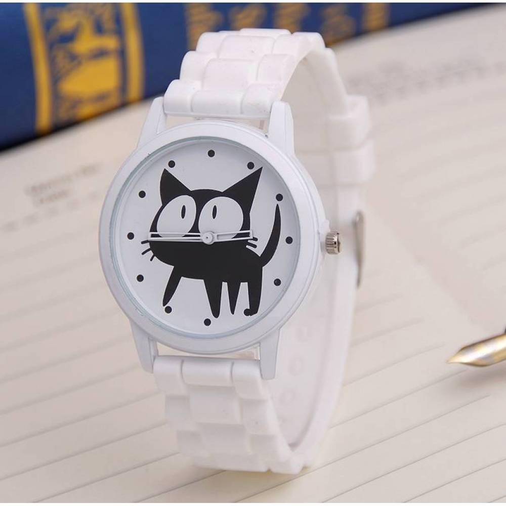 Женские Часы наручные JEANE CARTER С кошкой, белые  3511
