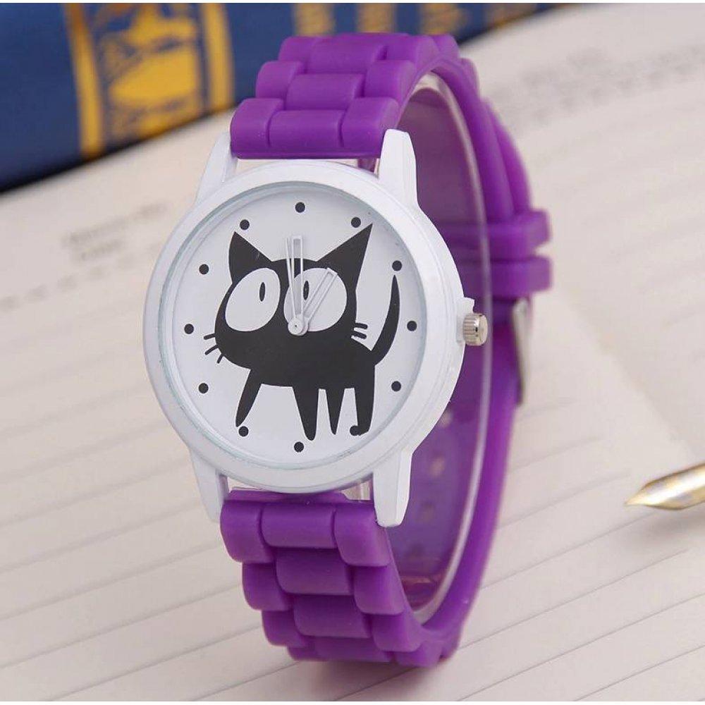 Женские Часы наручные JEANE CARTER с кошкой, фиолетовые 3512