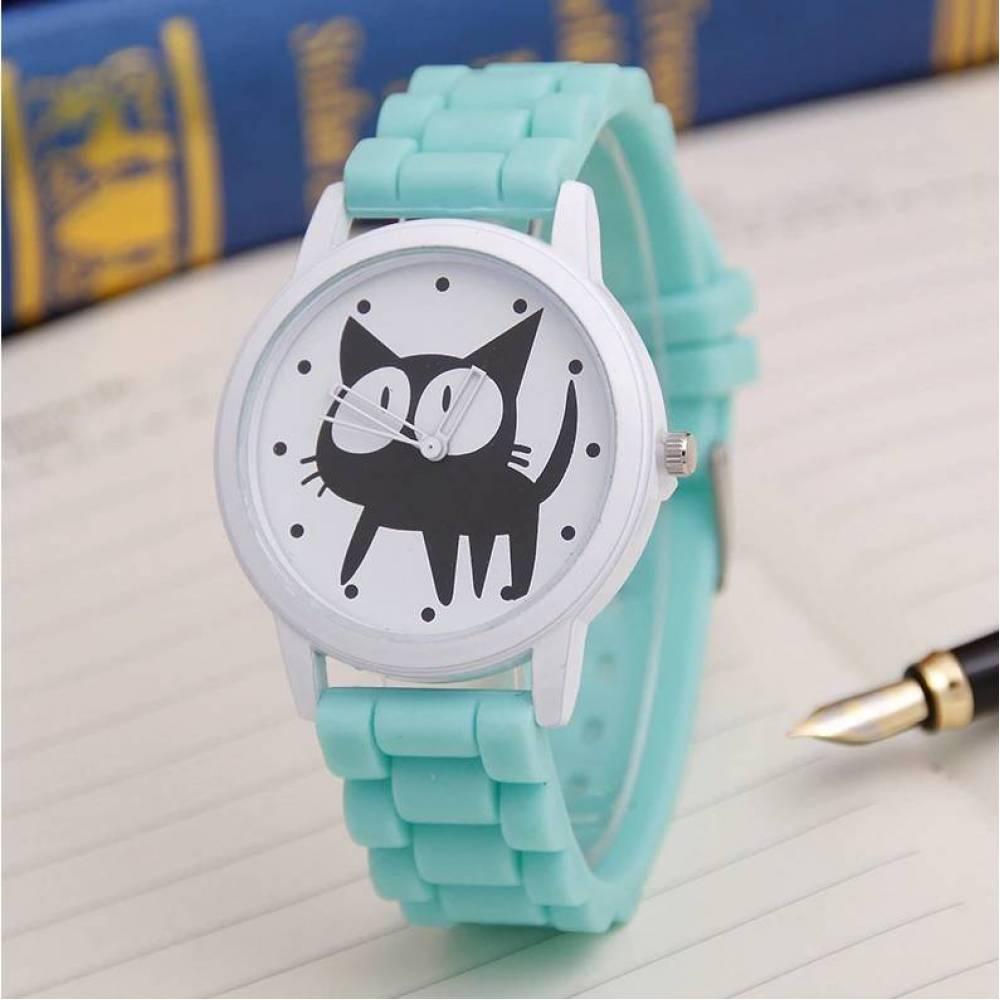 Женские Часы наручные JEANE CARTER с кошкой, голубые  3515