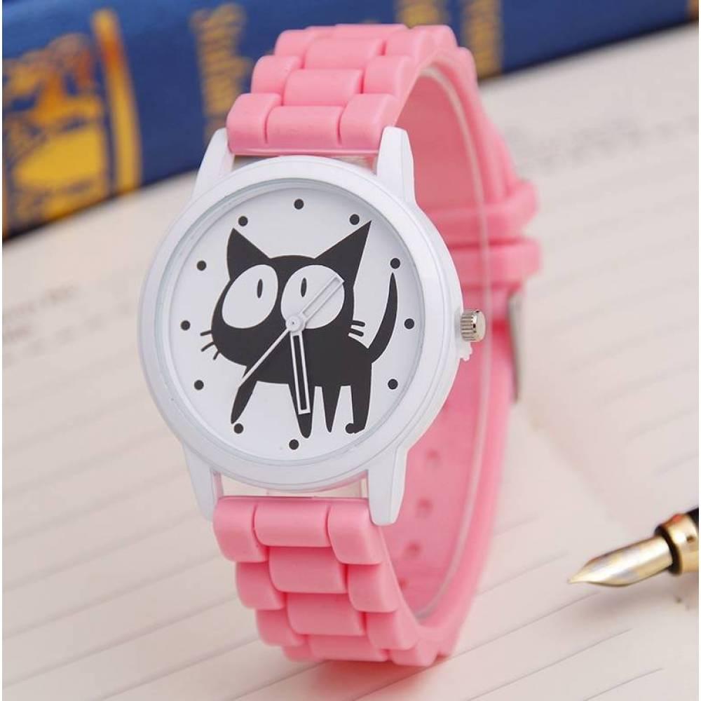 Женские Часы наручные JEANE CARTER с кошкой, розовые 3516