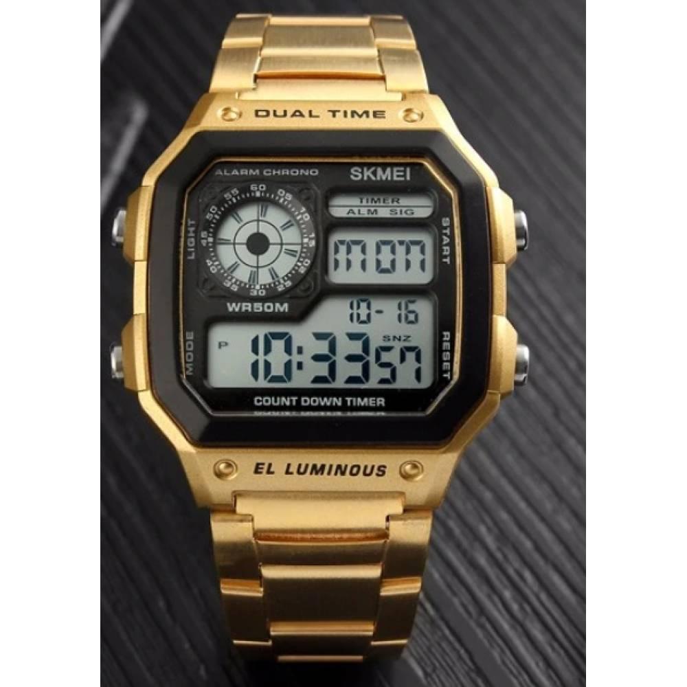 Мужские Часы наручные SKMEI, золотистые  3822