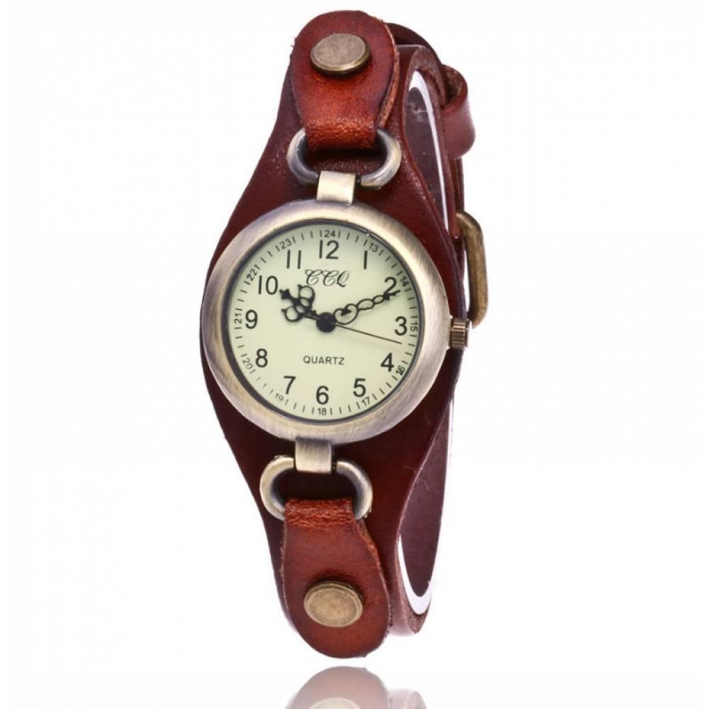Женские Часы наручные CCQ, коричневые 3744
