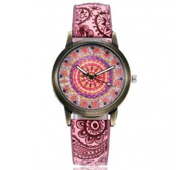 Женские Часы наручные Vansvar, красные с узорами 3819