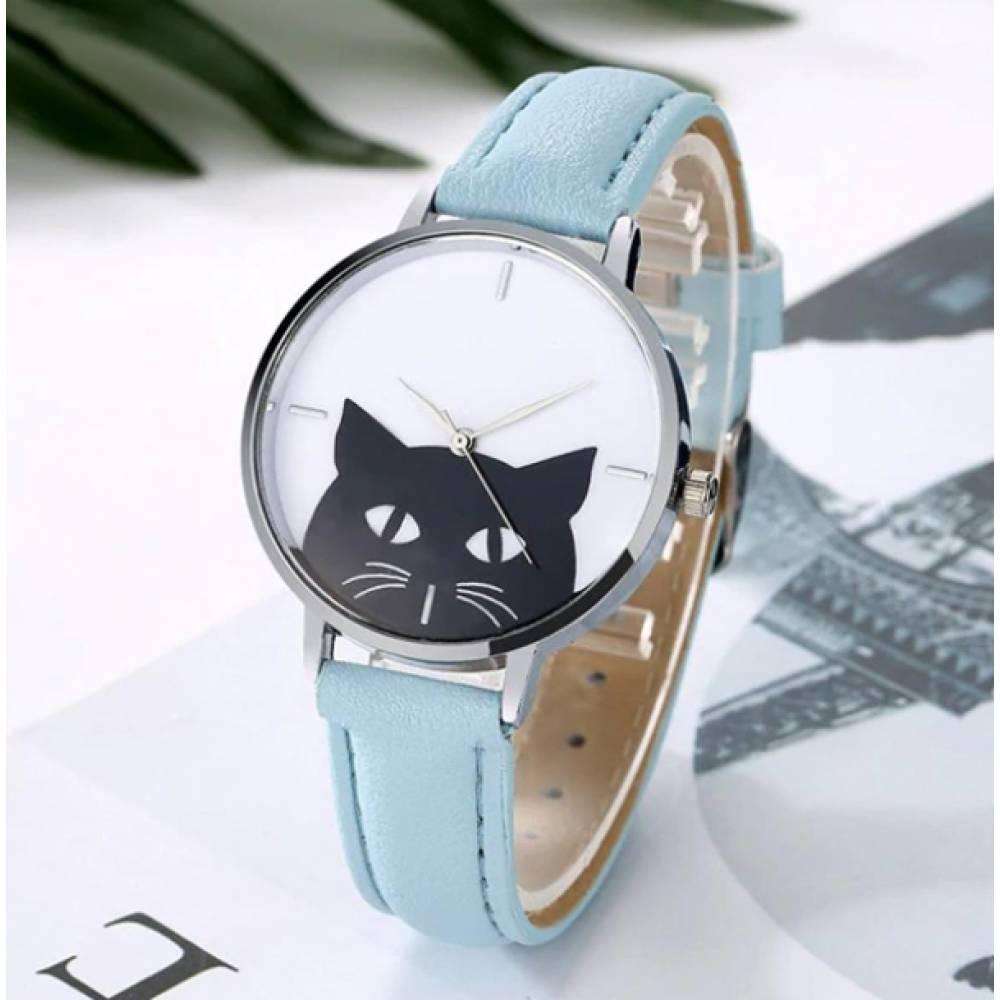 Женские Часы наручные Xiniu, с кошкой, голубые  3831