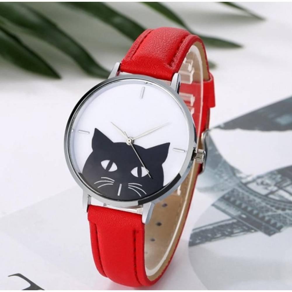 Женские Часы наручные Xiniu с кошкой, красные  3832