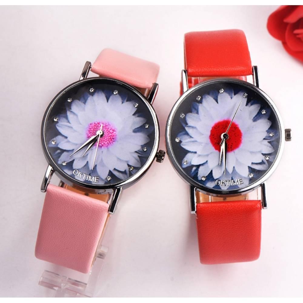 Женские Часы наручные Xiniu с цветком, красные  3840