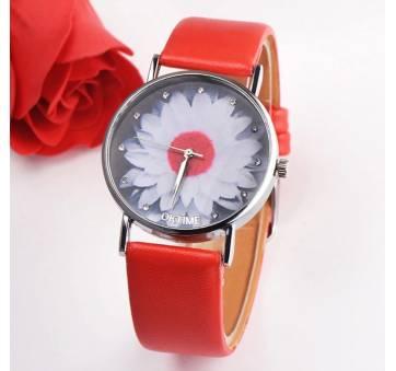 Женские Часы наручные Xiniu с цветком, красные  3842