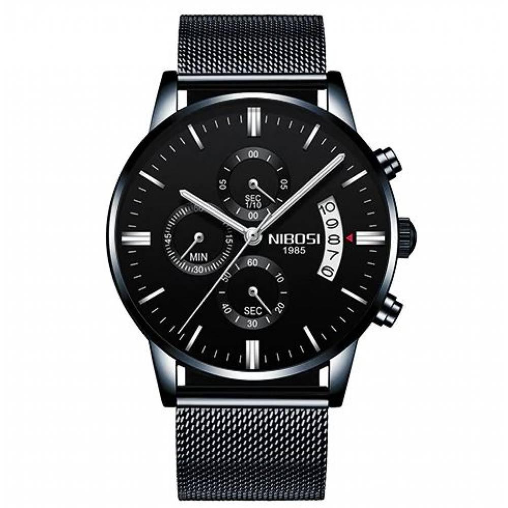 Мужские Часы наручные NIBOSI, черные  4333