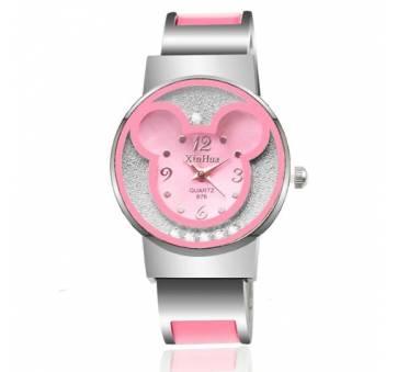 Детские Часы наручные Микки Маус, розовые  4384