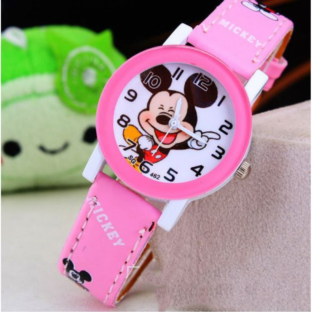 Детские Часы наручные Микки Маус, розовые  4412