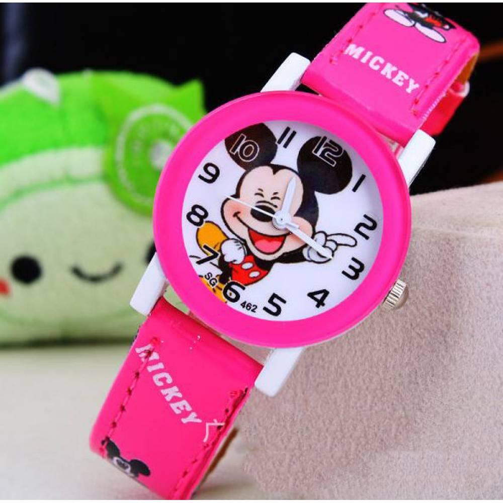 Детские Часы наручные Микки Маус, розовые  4413