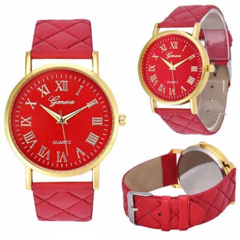 Женские Часы наручные Genvivia, красные  4571