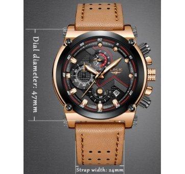 Мужские Часы наручные LIGE, коричневые  4582