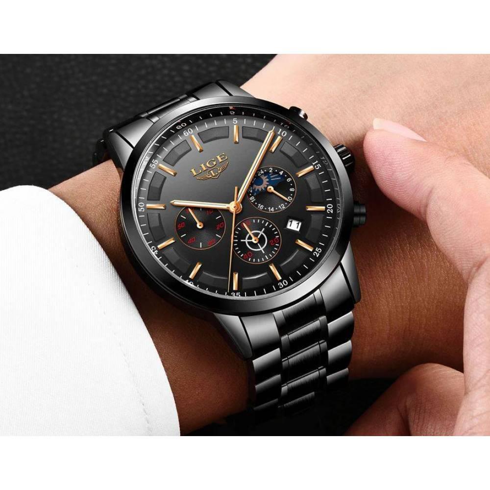 Мужские Часы наручные LIGE, черные  4584