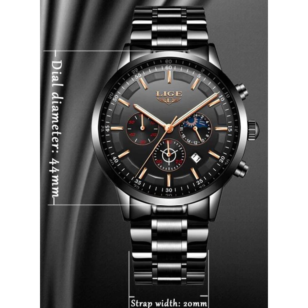 Мужские Часы наручные LIGE, черные  4585