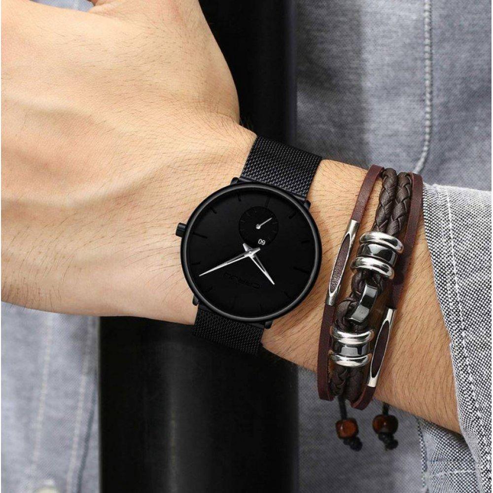 Мужские Часы наручные CRRJU, черные  4590