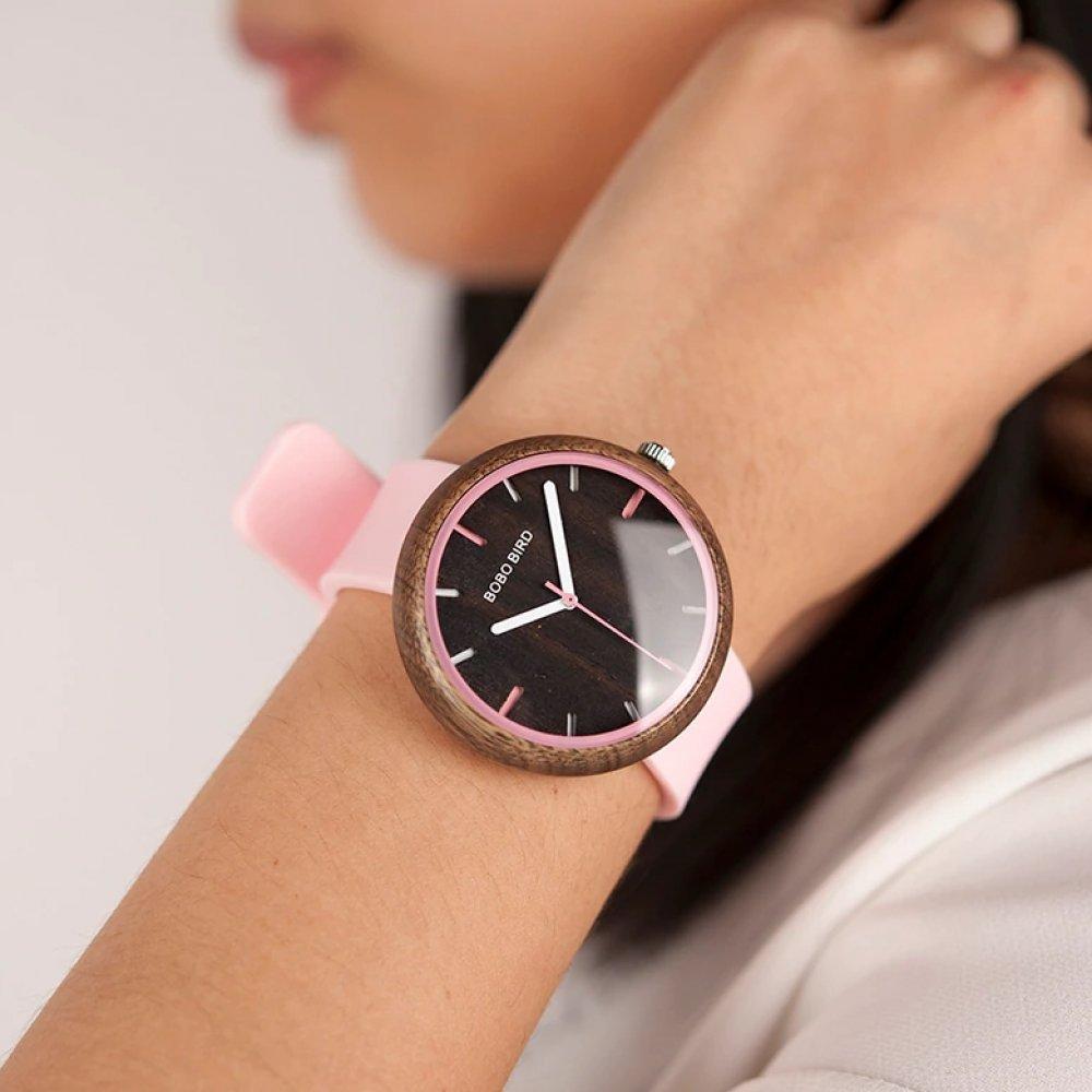 Женские Часы наручные BB, розовые, дерево 4788