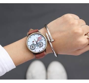 Женские Часы наручные JBRL Велосипед, коричневые  5571