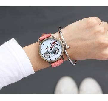 Женские Часы наручные JBRL Велосипед, розовые 5572